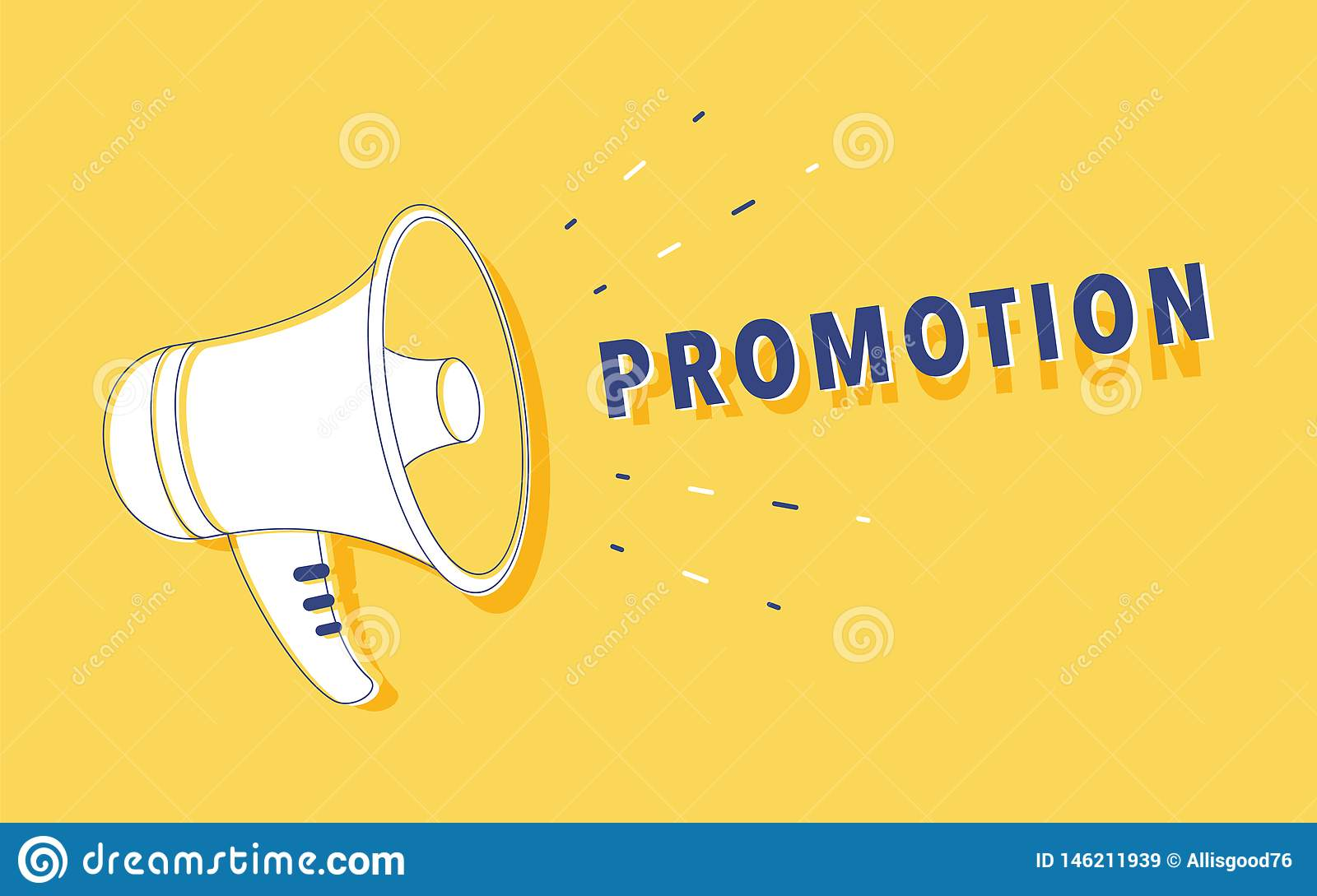 hand holding megaphone loudspeaker digital marketing promotion advertising flat vector illustration banner website 146211939